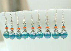 Turquoise and orange bridesmaid earrings - www.etsy.com/shop/ArtemisBridalJewelry
