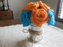 Turquoise and orange burlap flowers - www.etsy.com/shop/SallysBurlapflowers