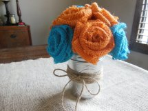 Turquoise and orange burlap flowers - www.etsy.com/shop/SallysBurlapflowers
