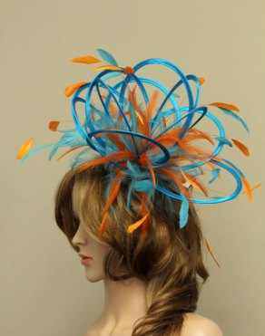 Turquoise and orange fascinator - www.etsy.com/shop/MaighreadStuart