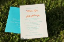 Turquoise and orange letterpress wedding invitation - www.etsy.com/shop/DancingPenandPress