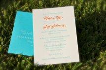 Turquoise and orange letterpress wedding invitation - www.etsy.com/shop/DancingPenandPress