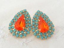 Turquoise and orange stud earrings - www.etsy.com/shop/EldorTinaJewelry