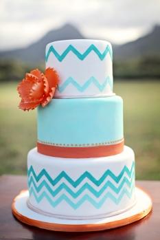 Turquoise and orange wedding cake inspiration {via frostedpetticoatblog.com}