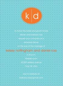 Turquoise and orange wedding invitation - www.invitationduck.com