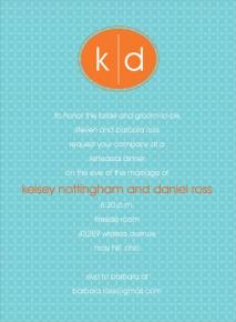 Turquoise and orange wedding invitation - www.invitationduck.com