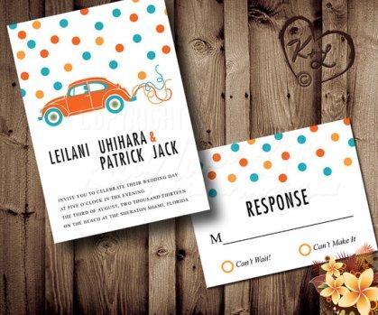 Turquoise and orange wedding invitation - www.etsy.com/shop/KittyLovesLou