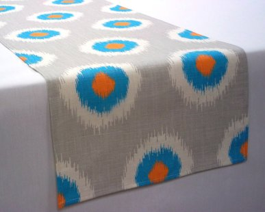 Turquoise, orange and grey table runner - www.etsy.com/shop/ToniMarieDesigns