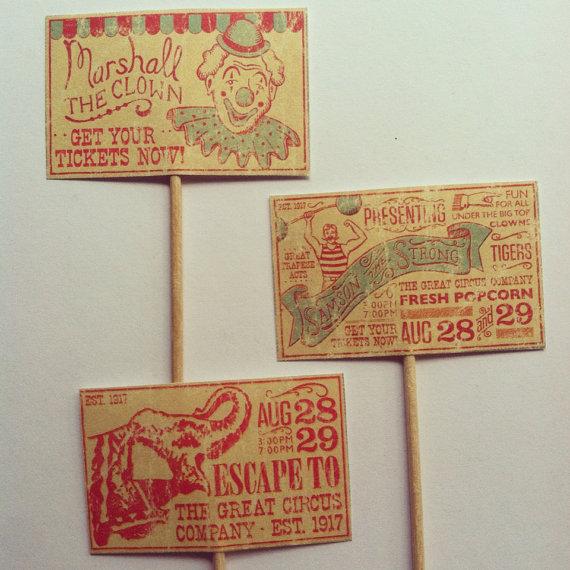 Vintage circus cupcake toppers - www.etsy.com/shop/ApplesModernArt