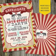 Vintage circus wedding invitation - www.etsy.com/shop/partymonkey