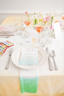 Watercolor table setting idea {via weddingchicks.com}