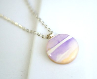Watercolour necklace - www.etsy.com/shop/cleverfigstudios