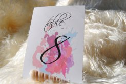 Watercolour table numbers - www.etsy.com/shop/CraftsForAbby