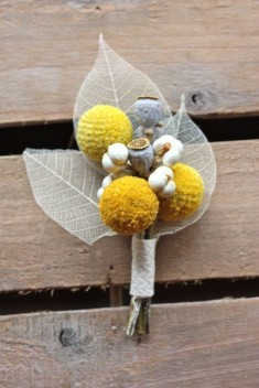 Billy-ball and skeleton leaf boutonniere - www.etsy.com/shop/FayeMarie