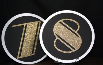 Black, white and gold table numbers - www.etsy.com/shop/TriElegance