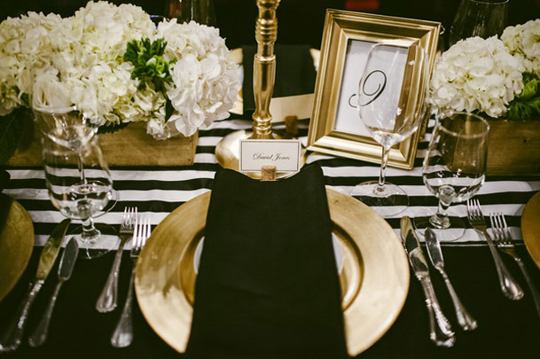 Black white and gold table setting idea via weddingobsession.com & Black white and gold table setting idea via weddingobsession.com ...