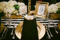 Black, white and gold table setting idea {via weddingobsession.com}