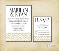 Black, white and gold wedding invitation - www.etsy.com/shop/AshleyMartinDesigns