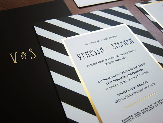 black white and gold wedding invitation wwwetsycomshoplittlebridgedesign - White And Gold Wedding Invitations