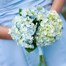 Blue and green hydrangea bouquet {via theknot.com}