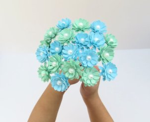 Mint and light blue paper flowers - www.etsy.com/shop/KristaMaeStudio