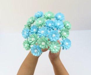 Mint and light blue paper flowers - www.etsy.com/shop/KristaMaeStudio
