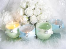 Mint and light blue votive candles - www.etsy.com/shop/KPGDesigns