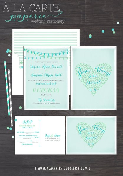 Mint and light blue wedding invitation - www.etsy.com/shop/alacartestudio