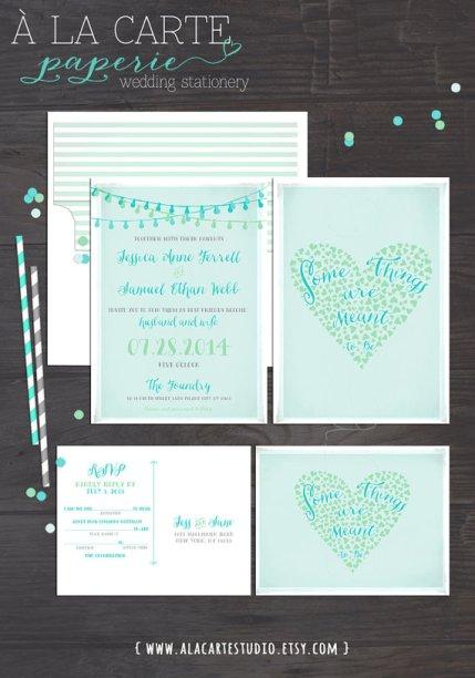 Mint and light blue wedding invitation - www.etsy.com/shop/alacartestudio