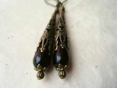 Steampunk black filigree earrings - www.etsy.com/shop/PiggleAndPop