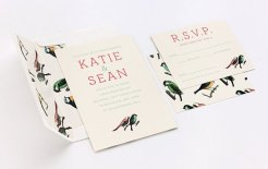 Bird pattern wedding invitation - www.etsy.com/shop/ElloThere
