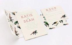 Bird pattern wedding invitation - www.etsy.com/shop/ElloThere