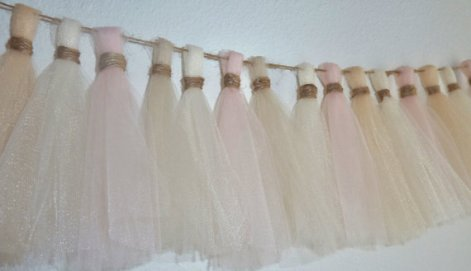 Blush and champagne tulle garland - www.etsy.com/shop/aprincesspractically