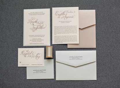 Blush and champagne wedding invitation suite - www.etsy.com/shop/LamaWorks