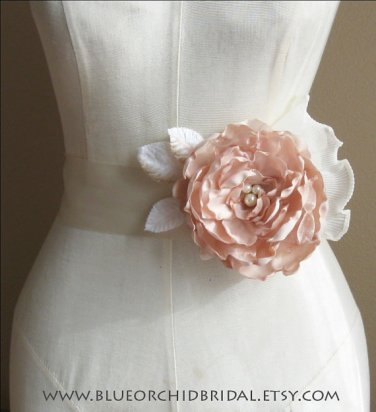 Champagne and blush bridal sash - www.etsy.com/shop/BlueOrchidBridal