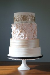 Champagne and blush wedding cake {via bridalguide.com}