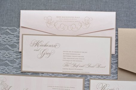 Champagne and blush wedding invitation - www.etsy.com/shop/LamaWorks