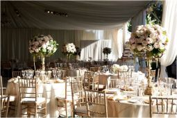 Champagne and blush wedding reception {via onewed.com}