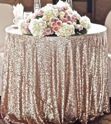 Champagne coloured sequin tablecloth - www.etsy.com/shop/SparkleSoiree