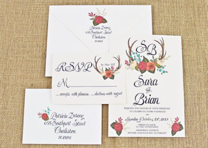 Floral and antler wedding invitation - www.etsy.com/shop/BeholdDesignz