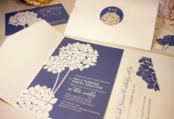 hydrangea wedding invitation www etsy com shop vohandmade the