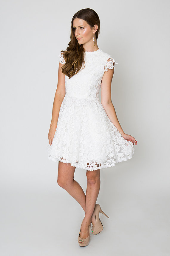 Lace reception dress for White after wedding party dress