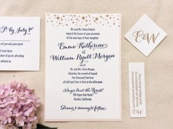 Navy and gold dot letterpress wedding invitation - www.etsy.com:shop:DinglewoodDesign