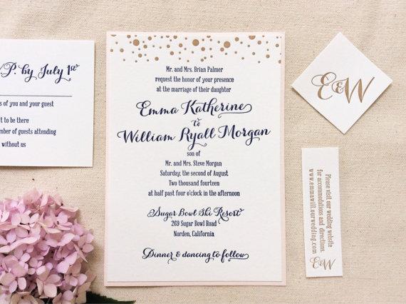 Navy And Gold Dot Letterpress Wedding Invitation Etsyshop