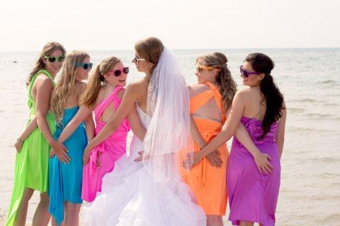 Neon bridesmaid dresses - www.etsy.com/shop/StaysiLee
