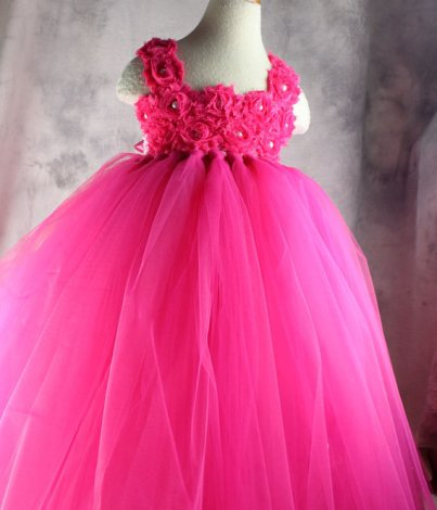 Neon pink flower girl dress - www.etsy.com/shop/vivilovelytutudress