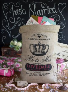 Personalised burlap card-holder or 'wishing well' - www.etsy.com/shop/HessianandBurlap