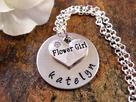 Personalised flower girl necklace - www.etsy.com/shop/CharmAccents