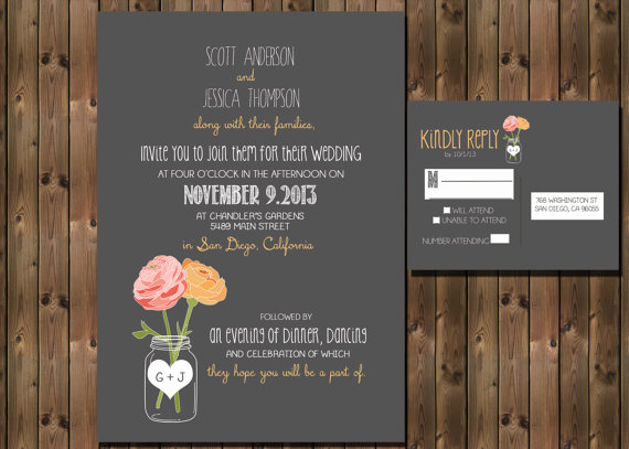 Rustic-style wedding invitation - www.etsy.com:shop:RockStarPress