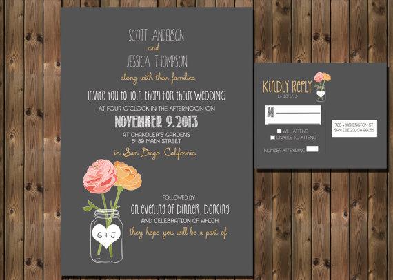 Rustic-style wedding invitation - www.etsy.com:shop:RockStarPress
